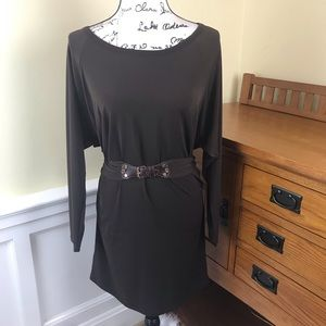 Michael Kors Brown Long Sleeved Dress with Belt
